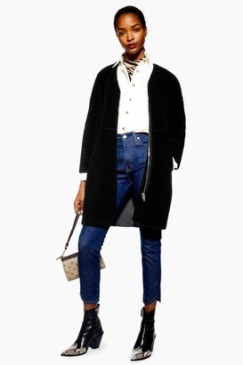 Topshop Womens Black Zip Borg Coat - Black