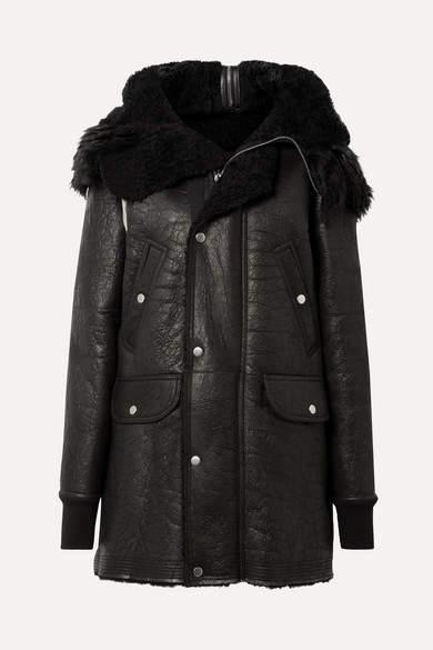 Rick Owens Hooded Shearling Coat - Black