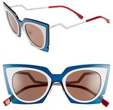 Fendi Women's 49Mm Cat Eye Sunglasses - Beige/ Red/ Burgundy