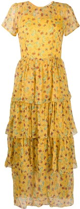 HVN Fruit-Print Tiered Dress