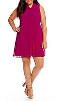 Vince Camuto Plus Asymmetric Ruffle A-line Dress