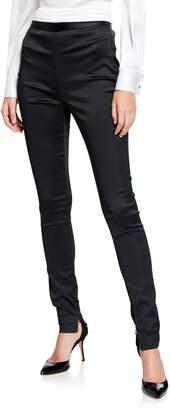 St. John Satin Zip-Cuff Skinny Ankle Pants