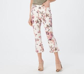 Denim & Co. Floral Printed Crop Kick Flare Jeans