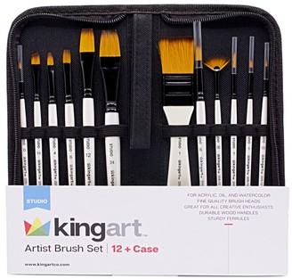 Kingart 12-Piece Studio Golden Nylon Brushes in Travel Case