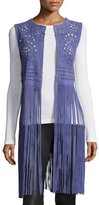 Bagatelle Perforated Suede Vest W/Fringe, Blue