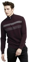 Kenneth Cole Reaction Men's 1/2 Zip Mock Neck Sweater with Stripes