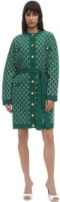 Gucci Knit Gg Intarsia Wool Coat Cardigan