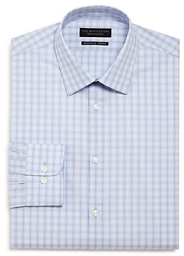 The Men's Store At Bloomingdale's The Men's Store Plaid Stretch Regular Fit Dress Shirt