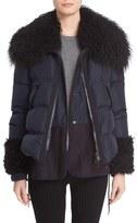 Moncler Women's 'Amelie' Water-Resistant Down Coat With Genuine Mongolian & Genuine Kalgan Lamb Fur Trim