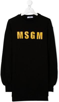 Msgm Kids TEEN sequined logo sweatshirt dress