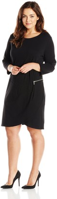 Joan Vass Women's Plus-Size 3/4 Sleeve Scoop Neck Dress