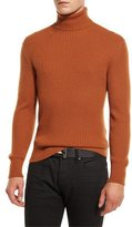 Tom Ford Ribbed Turtleneck Sweater, Brown