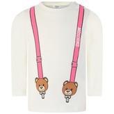 Moschino Girls Ivory & Fuchsia Teddy Braces Top