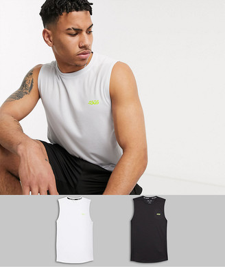 ASOS 4505 icon training sleeveless t-shirt with quick dry 2 pack SAVE