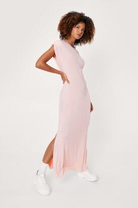 Nasty Gal Womens Shoulder Pad Romance Slit Maxi Dress - Pink