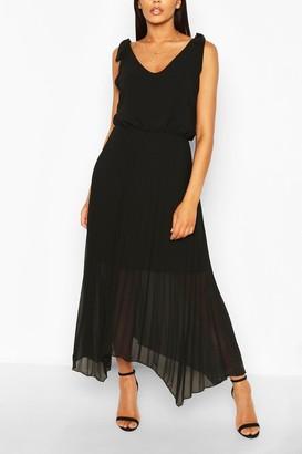 boohoo Tie Strap Pleated Skirt Maxi Dress