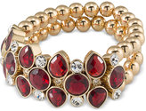Carolee Gold-Tone Burgundy Stone Beaded Stretch Bracelet