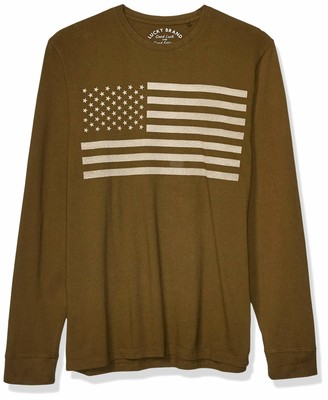 Lucky Brand Men's Long Sleeve USA Flag Tee