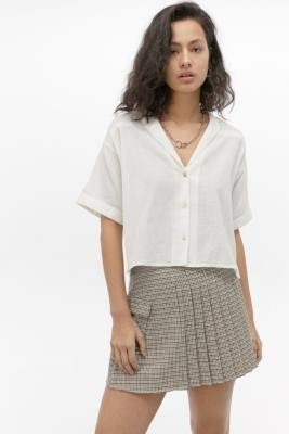 Urban Outfitters Gracie Dobby Short-Sleeve Shirt - White XS at