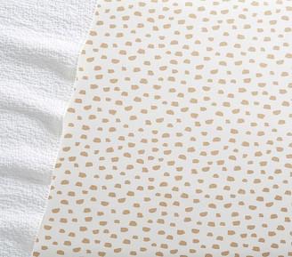 Pottery Barn Kids Gold Brushstroke Dot Fitted Crib Sheet