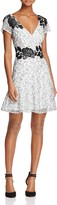 Aidan Mattox Short-Sleeve Embroidered Lace Dress