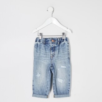 River Island Mini girls Blue washed ripped Mom jeans