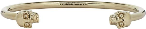 Alexander McQueen Gold Twin Thin Skull Bracelet