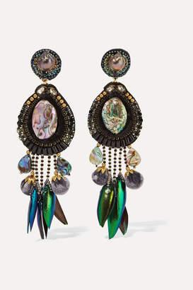 Ranjana Khan Stella Gold-tone, Velvet And Shell Clip Earrings