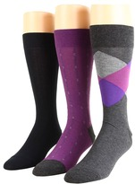 Cole Haan Spring Argyle/Squares Pin Stripes/Rib Knit - 3 Pack (Dark Grey Heather/Plum/Navy) - Footwear