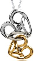 Jessica Simpson Collection Sterling Silver and 10K Gold White Diamond Heart Pendant (.01 cttw, I-J/I2-I3)