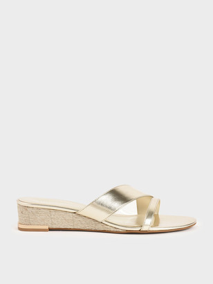 Charles & Keith Metallic Strappy Wedges