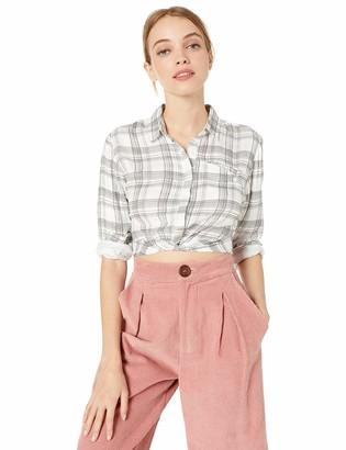 Volcom Junior's Women's Plaid Taste Long Sleeve Button Up Shirt
