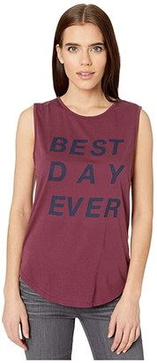 good hYOUman Sassy Best Day Ever Tank (Beet) Women's Clothing