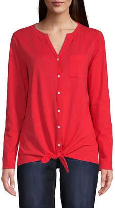 ST. JOHN'S BAY Womens Split Crew Neck Long Sleeve T-Shirt