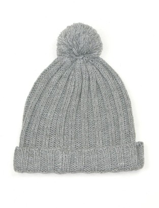 Lovarzi Grey pom pom hat ladies - Hats for Teenage Girls - Women Bobble Hats for Winter - Ladies Pull on Hats