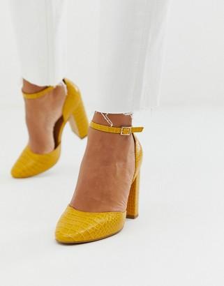 ASOS DESIGN Pleasant high block heels in mustard croc