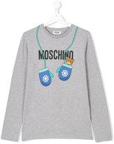 Moschino Kids mitten print logo top