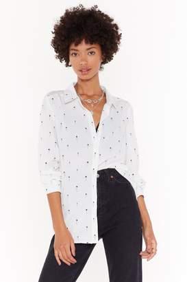 Nasty Gal Womens Shine Girl Star Chiffon Shirt - White - Xs