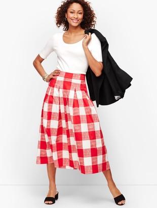 Talbots Pleated Gingham Full Skirt