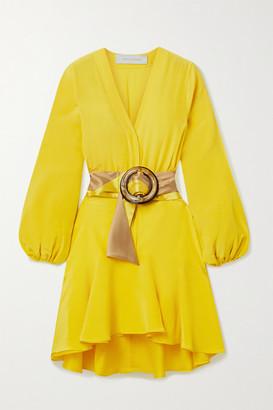 Silvia Tcherassi Filis Belted Silk Crepe De Chine Mini Dress - Marigold