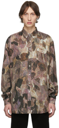 Schnaydermans Burgundy and Black Camo Oversized Shirt
