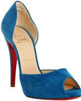 royal blue suede 'Madame Claude' d'orsay pumps