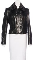 Michael Kors Fur-Accented Leather Jacket
