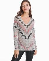 White House Black Market V-neck Chevron Pullover Sweater