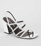 New Look Metallic Diamante Strappy Flared Heels