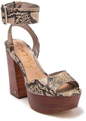 Sam Edelman Rain Snake-Embossed Leather Platform Ankle Strap Sandal