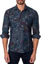 Jared Lang Paisley-Print Sport Shirt, Blue