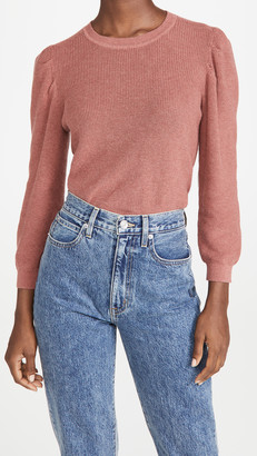 Autumn Cashmere 3/4 Puff Sleeve Shaker Crew Sweater