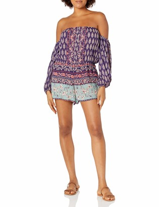 Angie Women's Printed Long Sleeve Off The Shoulder Romper