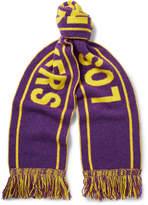 The Elder Statesman NBA Lakers Fringed Intarsia Cashmere Scarf